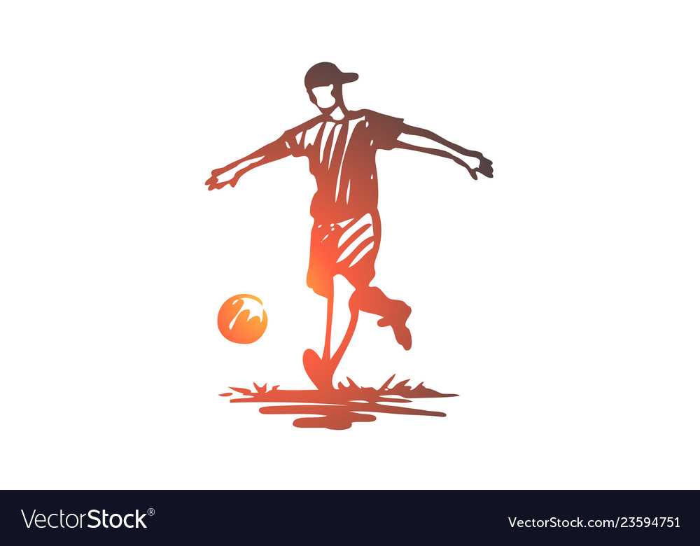 Boy sport soccer ball child concept hand