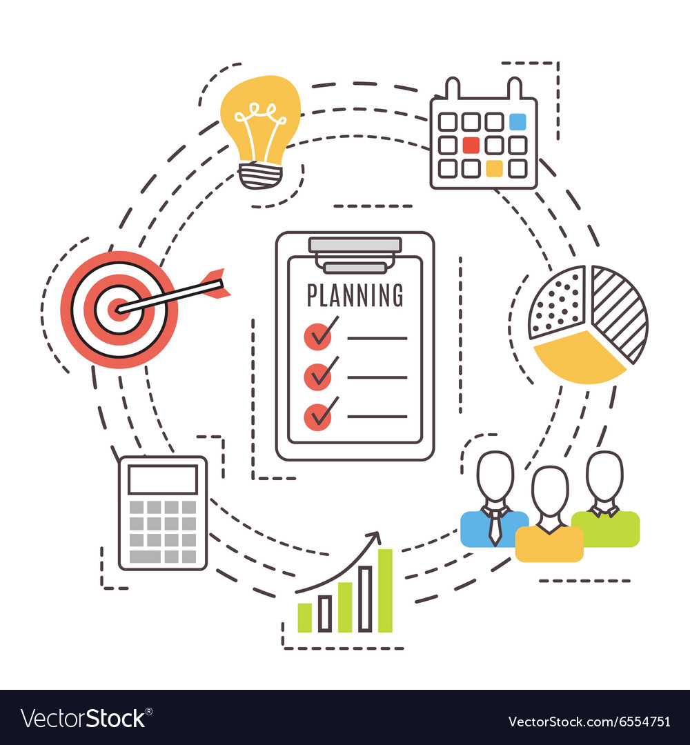 Business planning Thin line flat icons