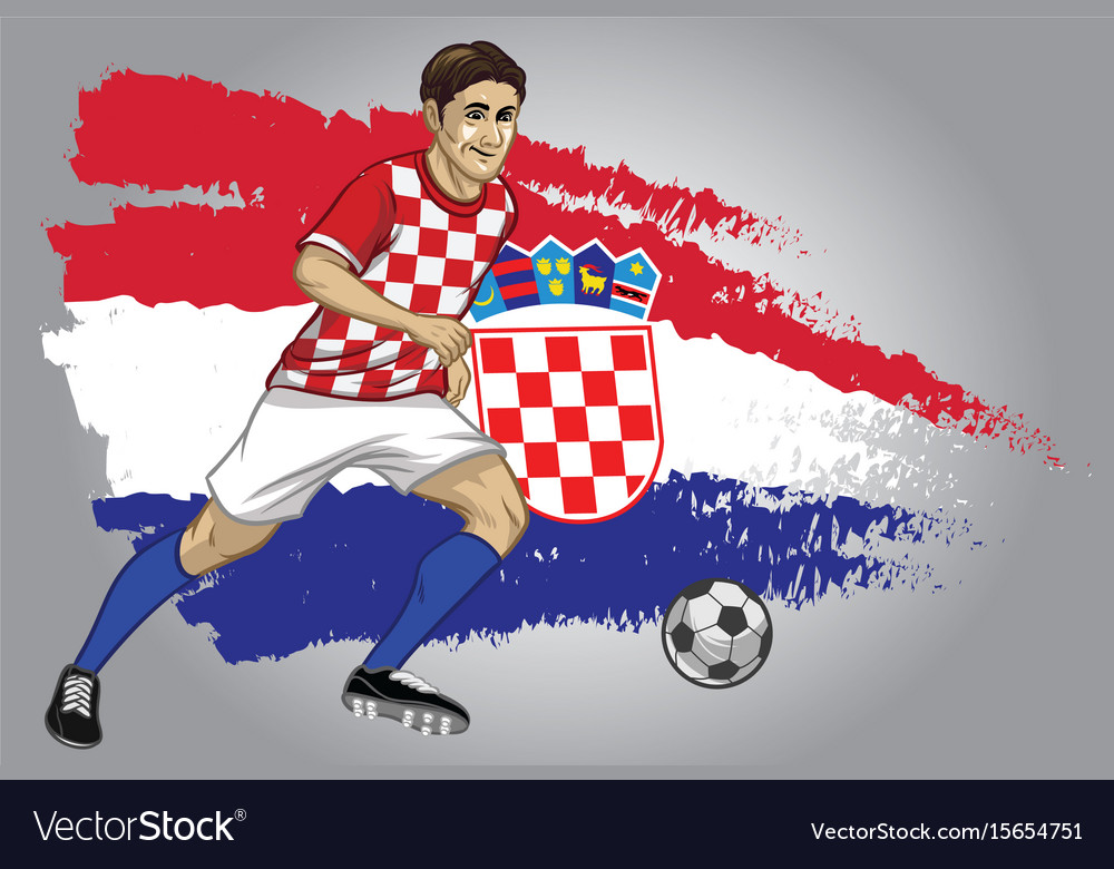 Croatia soccer player with flag as a background