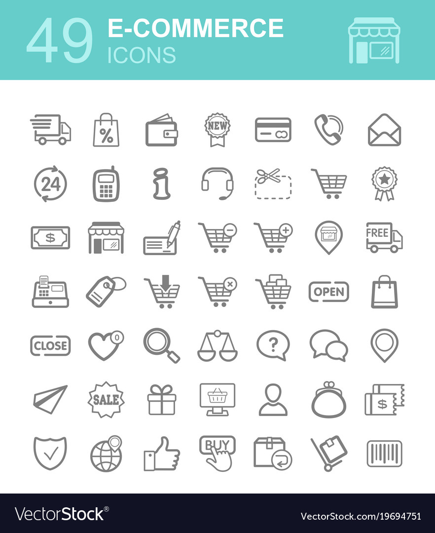 E-commerce set icons shopping and online