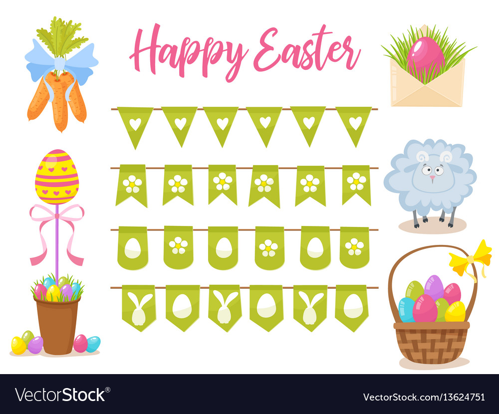 Easter party decoration elements eggs