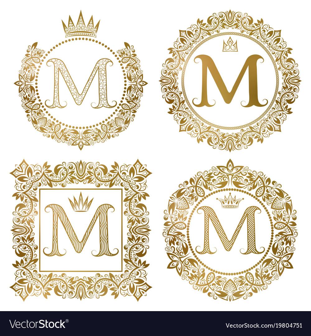 Golden letter m vintage monograms set heraldic