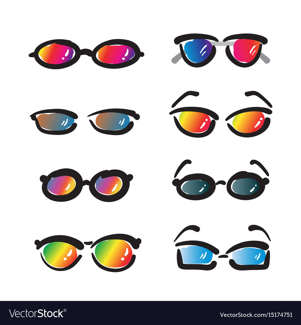 Group of hand drawn sunglasses on white background