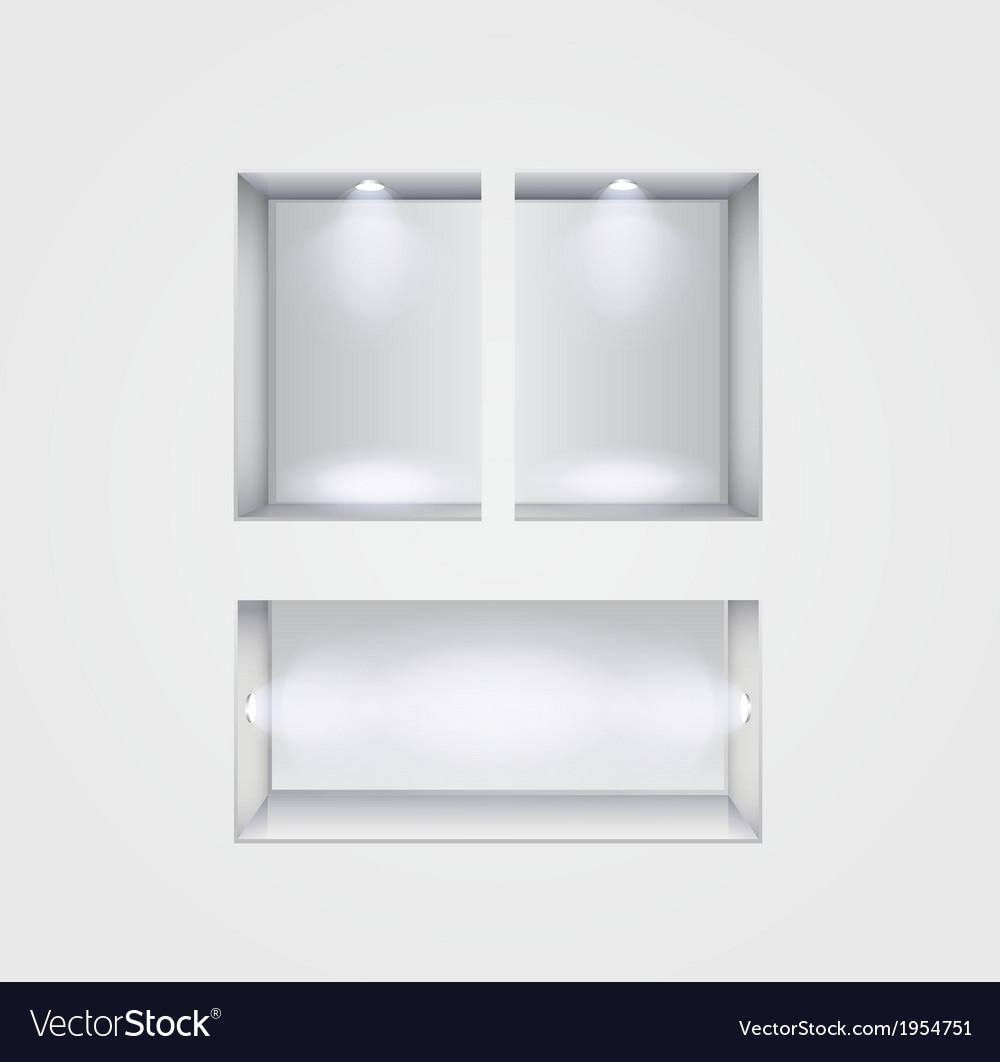 Niche gallery interior on gray
