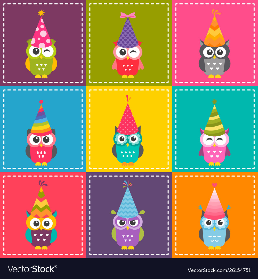 Patchwork background with cute cartoon colorful