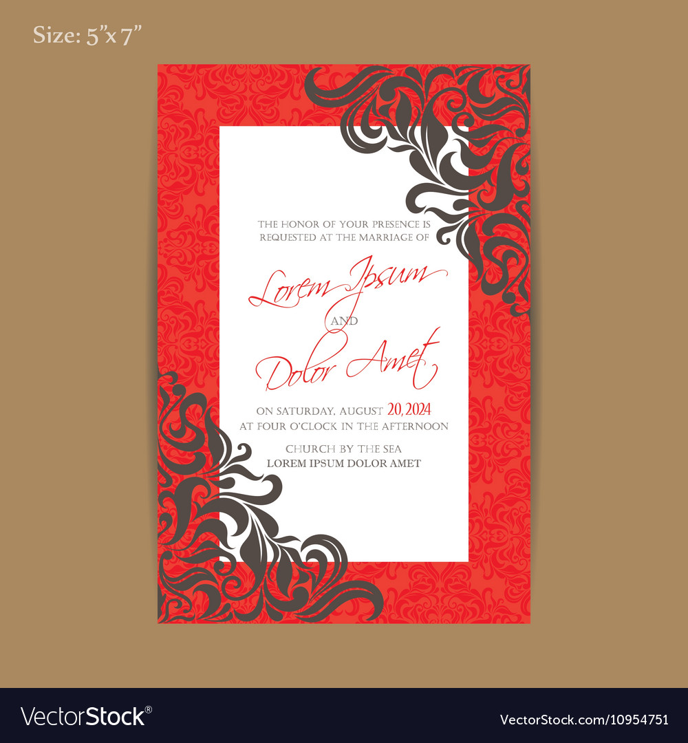 Red vintage wedding invitation card Royalty Free Vector