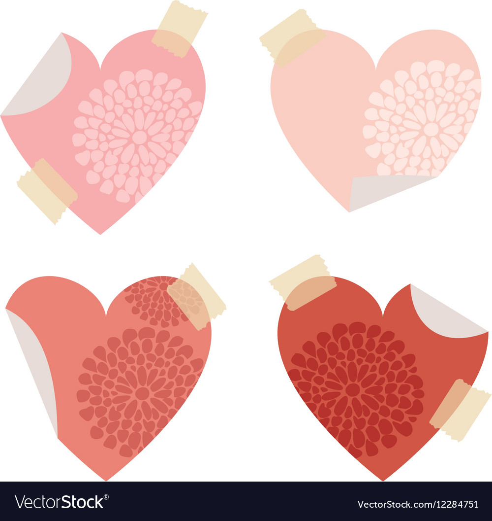 Set of post self stick notes papers heart shape