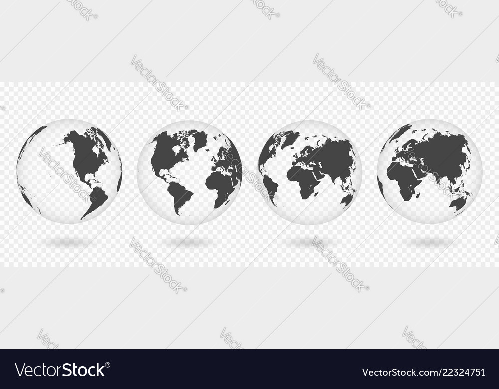 Set of transparent globes of earth realistic