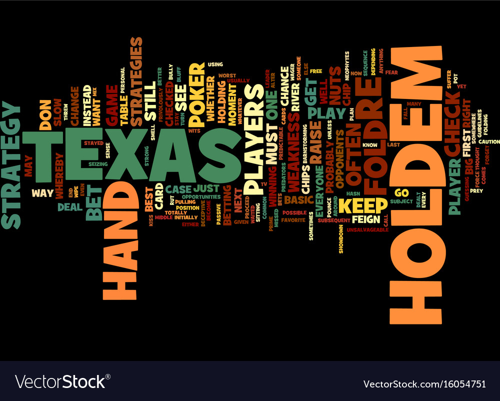 Texas Holdem Strategies Text Background Word Vector Image