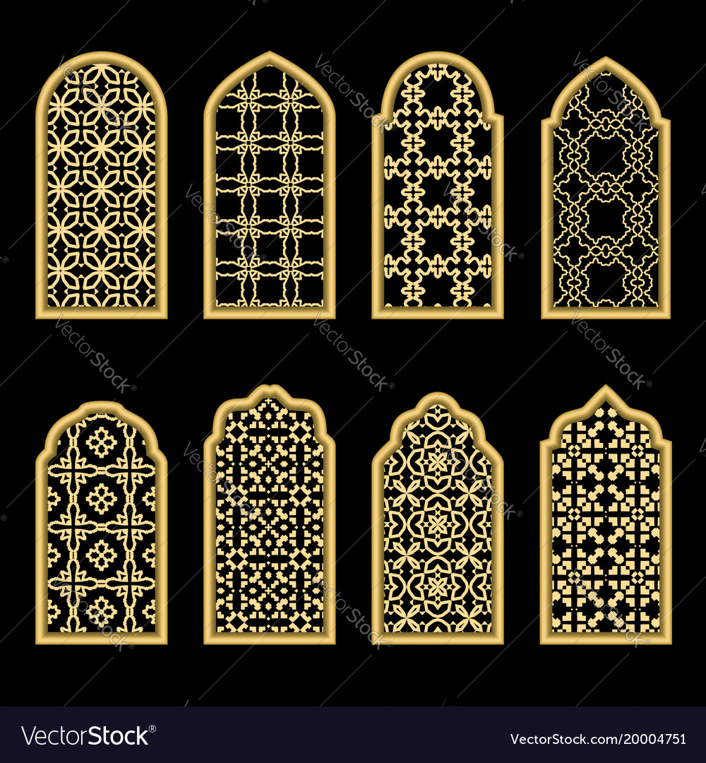Traditional gold arabic window