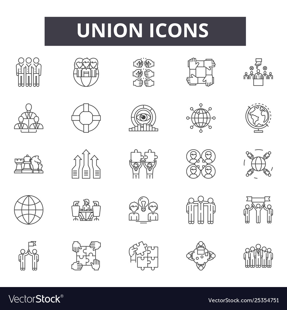 Union line icons signs set linear