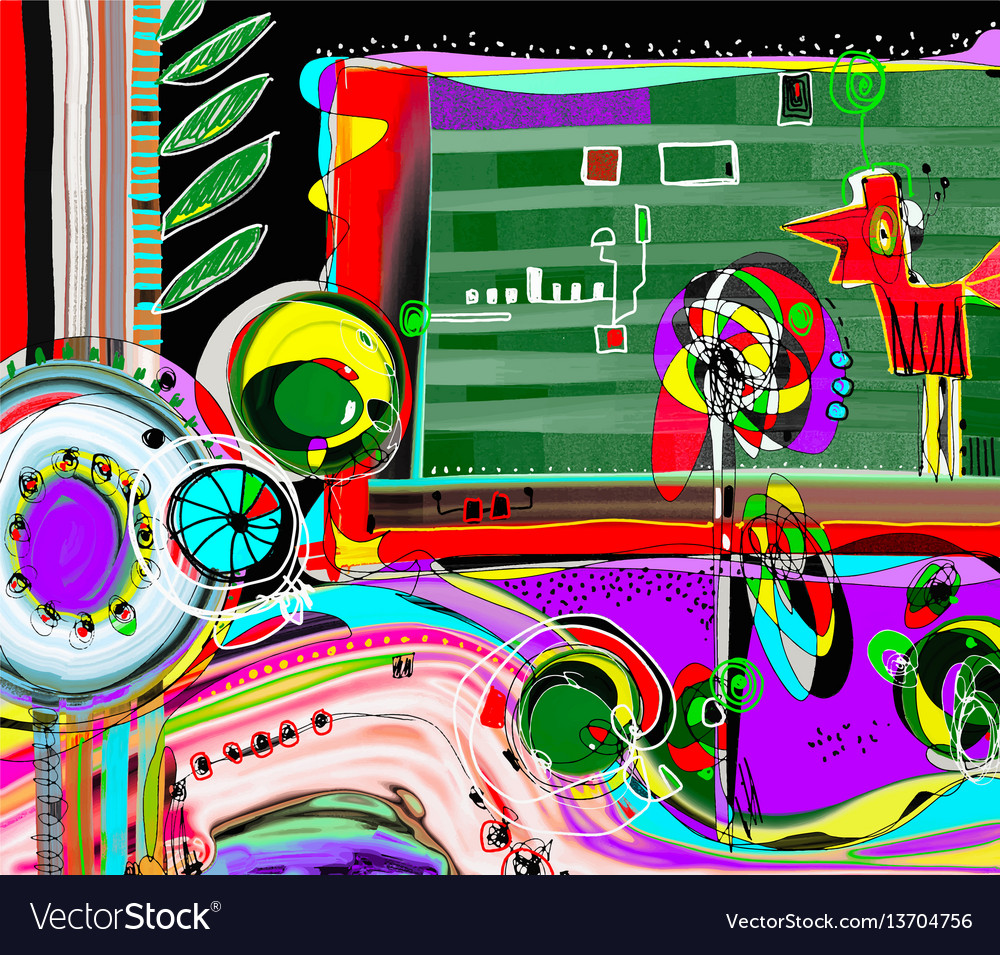 Abstract digital painting coloring composition of