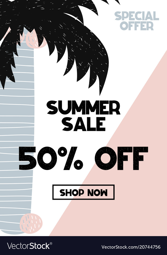 Advert card with lettering 50 off summer sale in