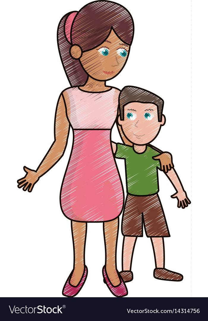 Drawing mother hugging son lovely vector image