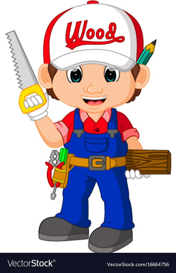 funny carpenter cartoon royalty free vector image
