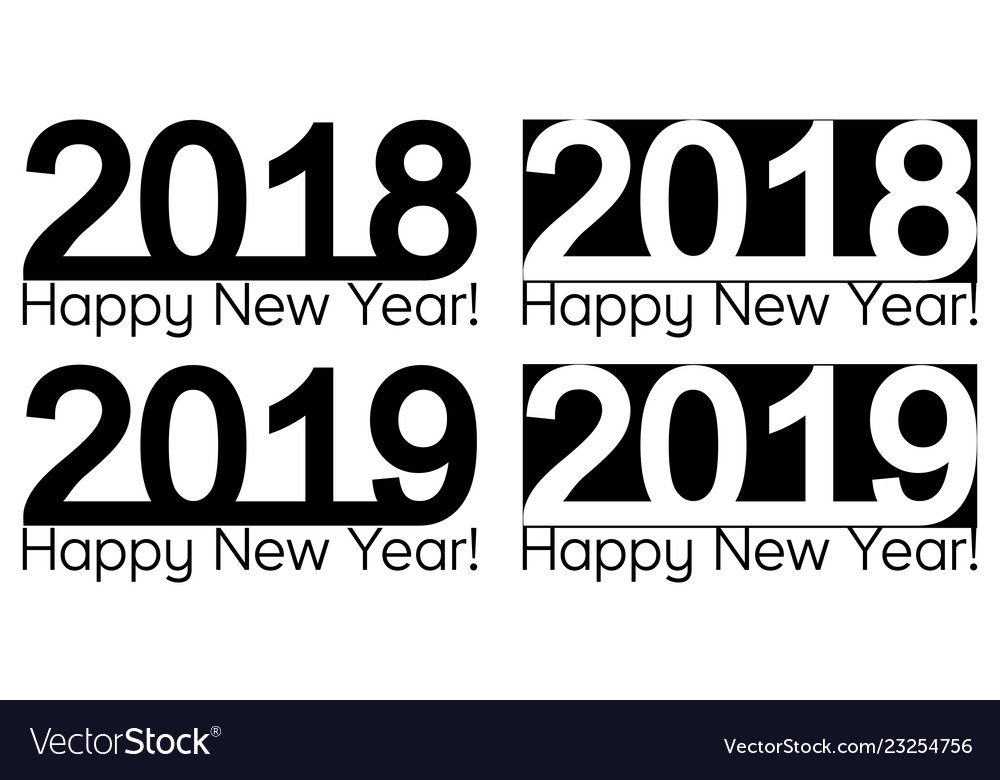Happy new year 2018 2019 text lettering design