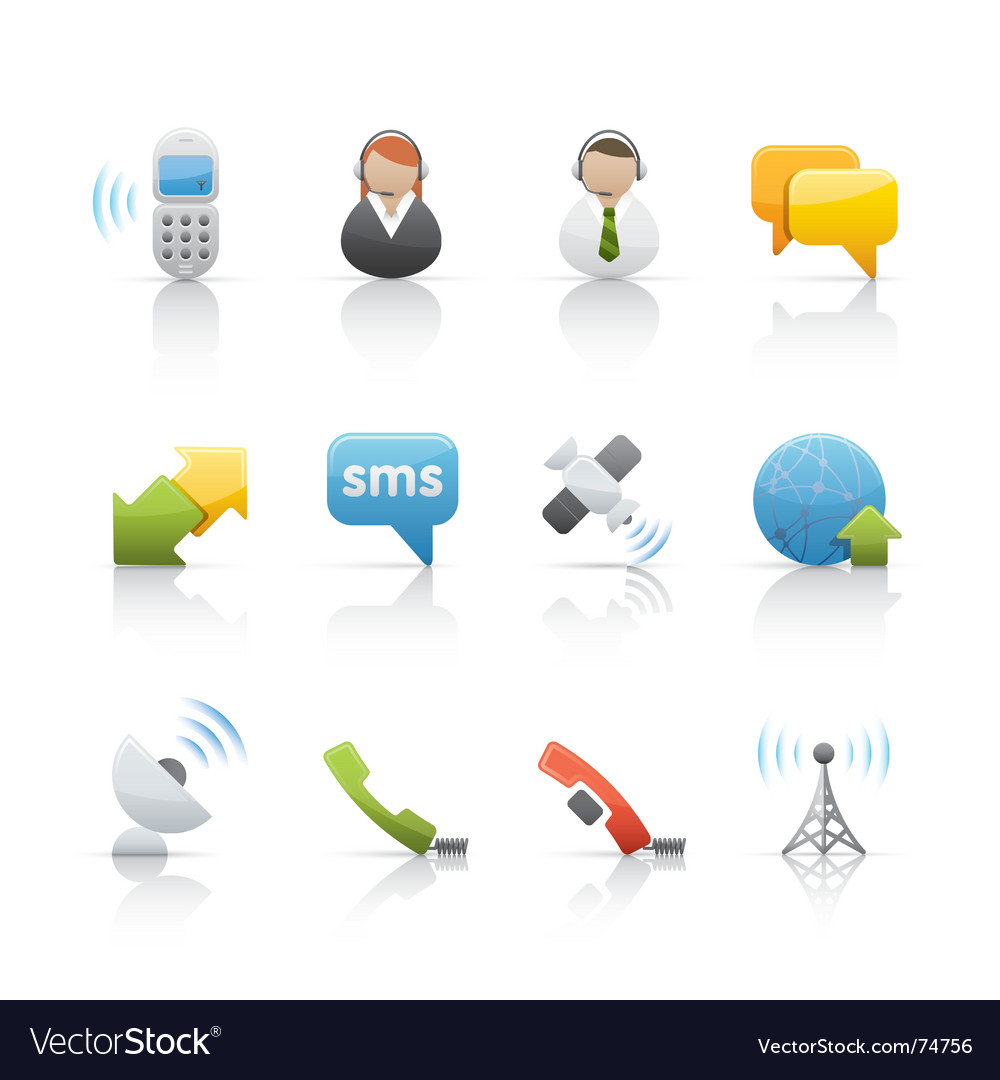 Icon set internet and communications vector image