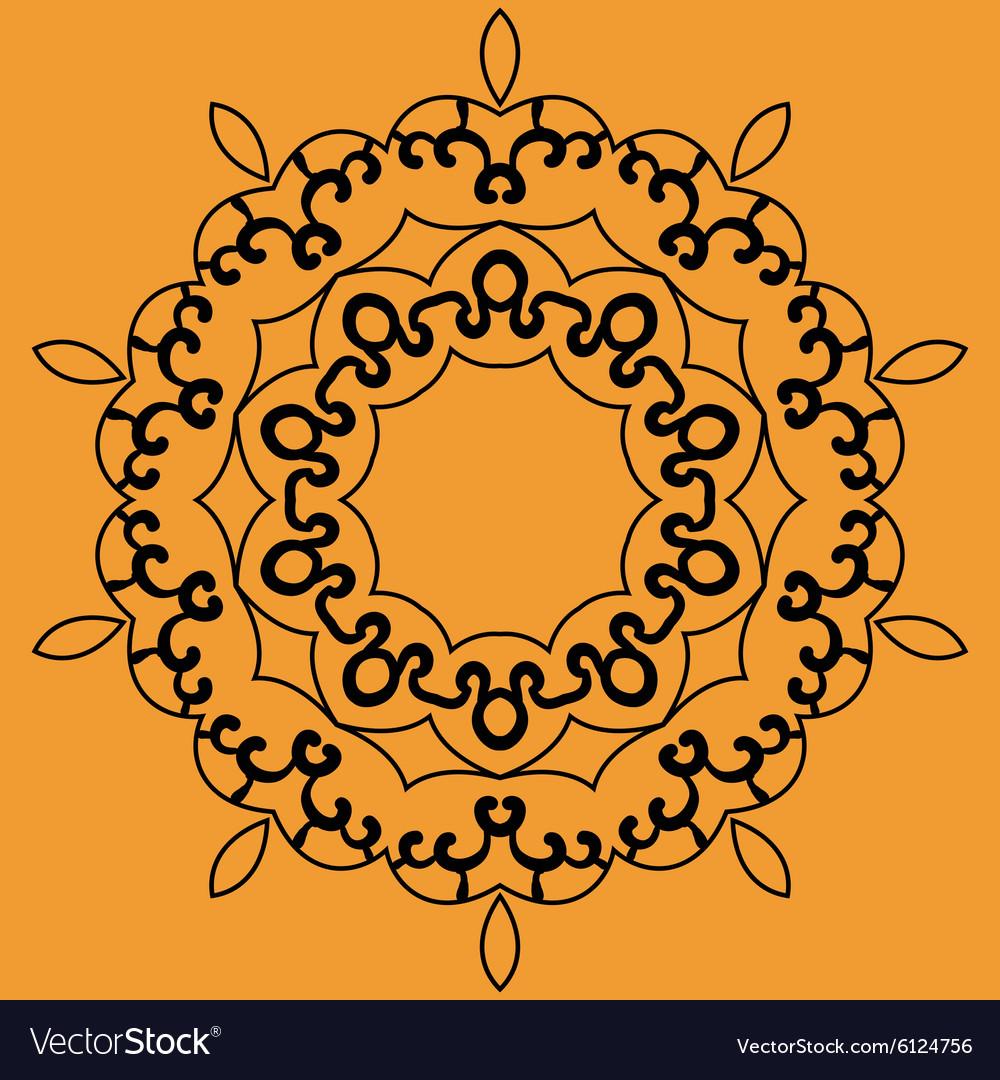 Outlined Mandala Print on Orange Background vector image