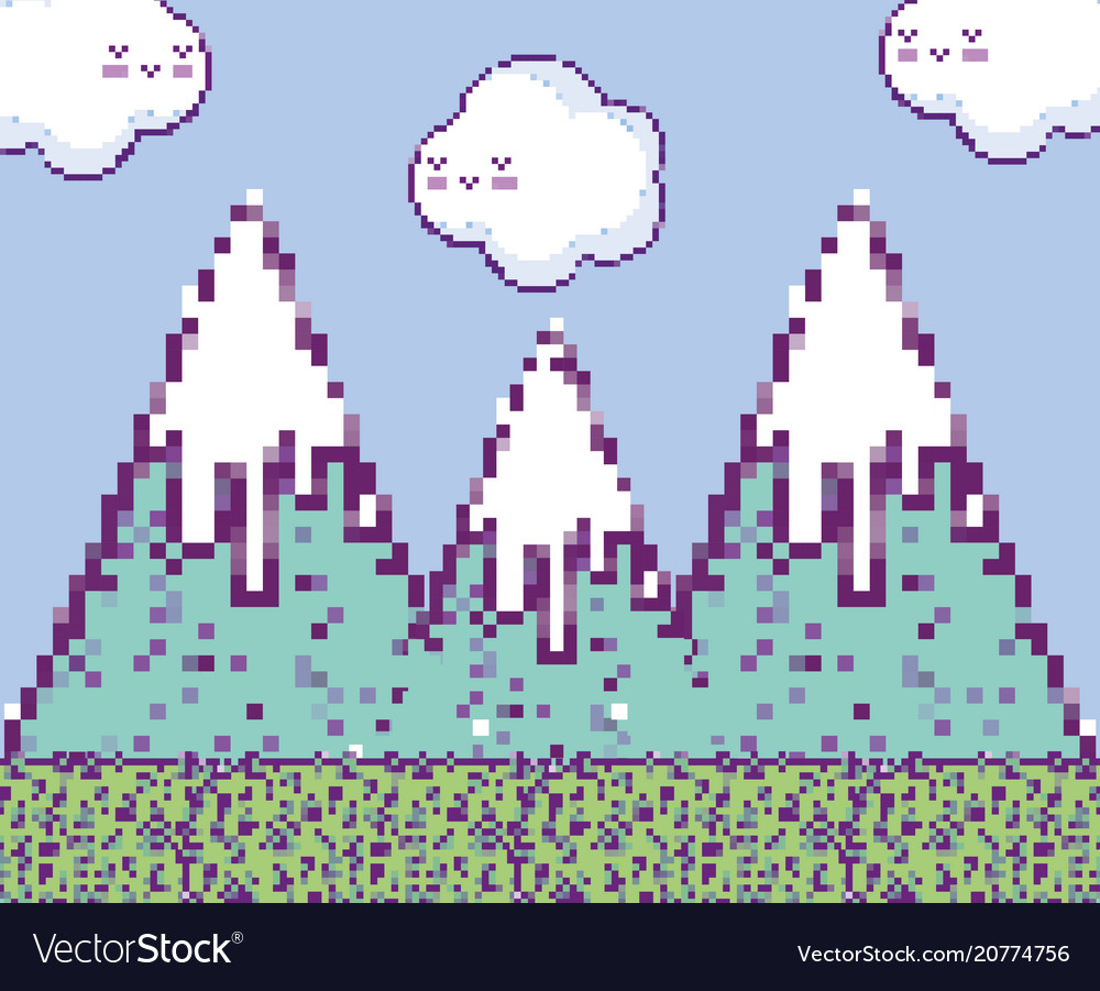 Pixelated videogame scenery