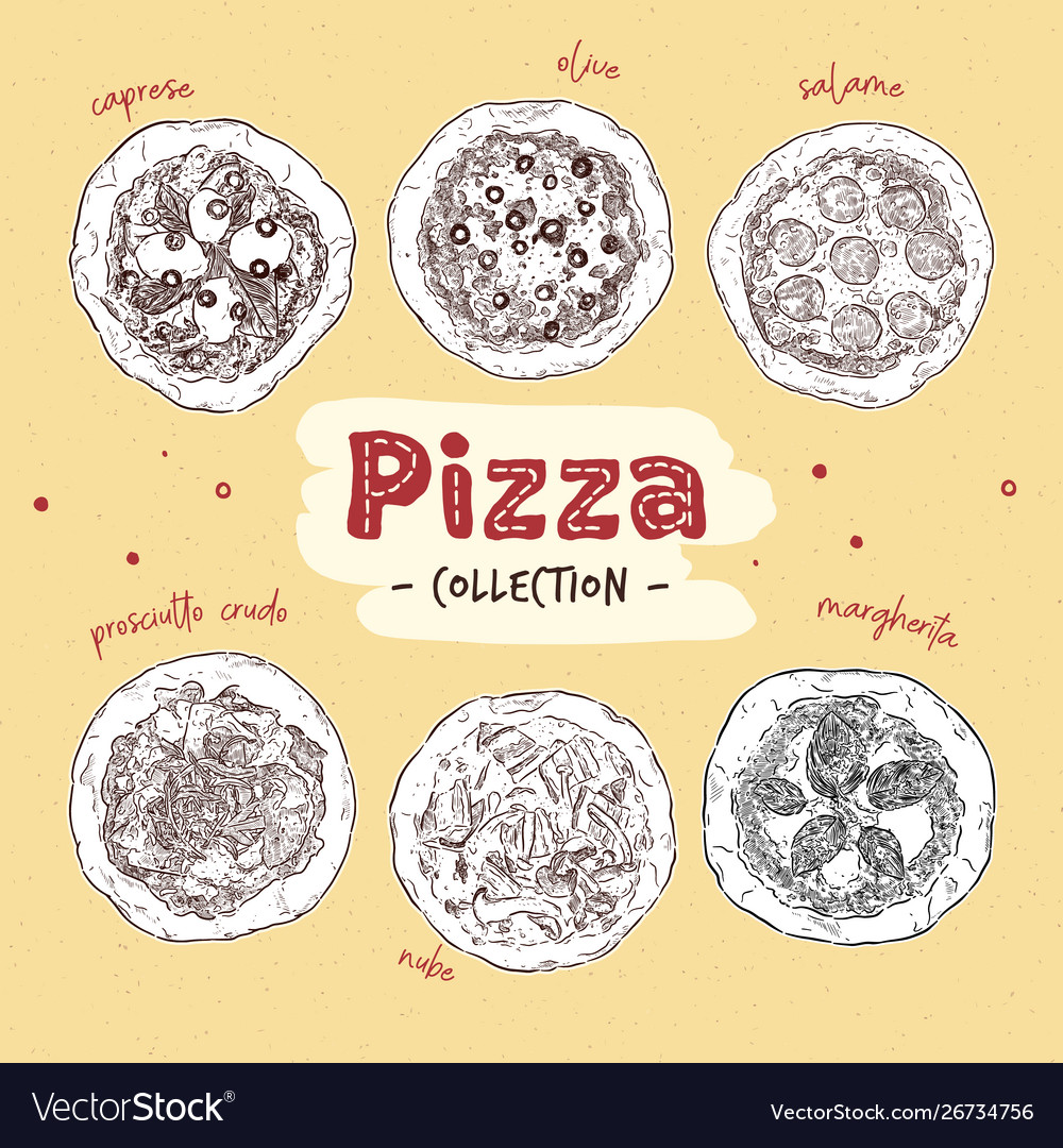 Pizza top view set with different ingredients
