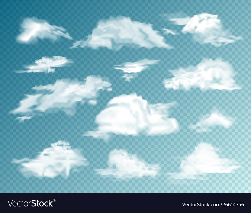 Realistic clouds set isolated cloud on