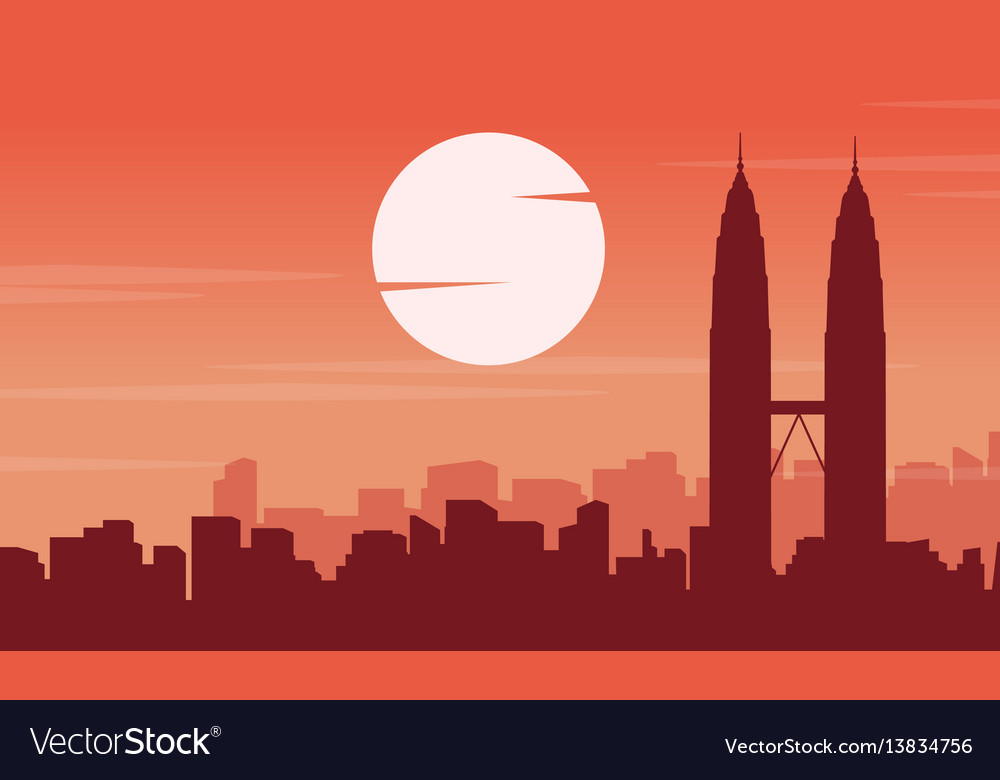 Scenery silhouette of malaysia city collection vector image