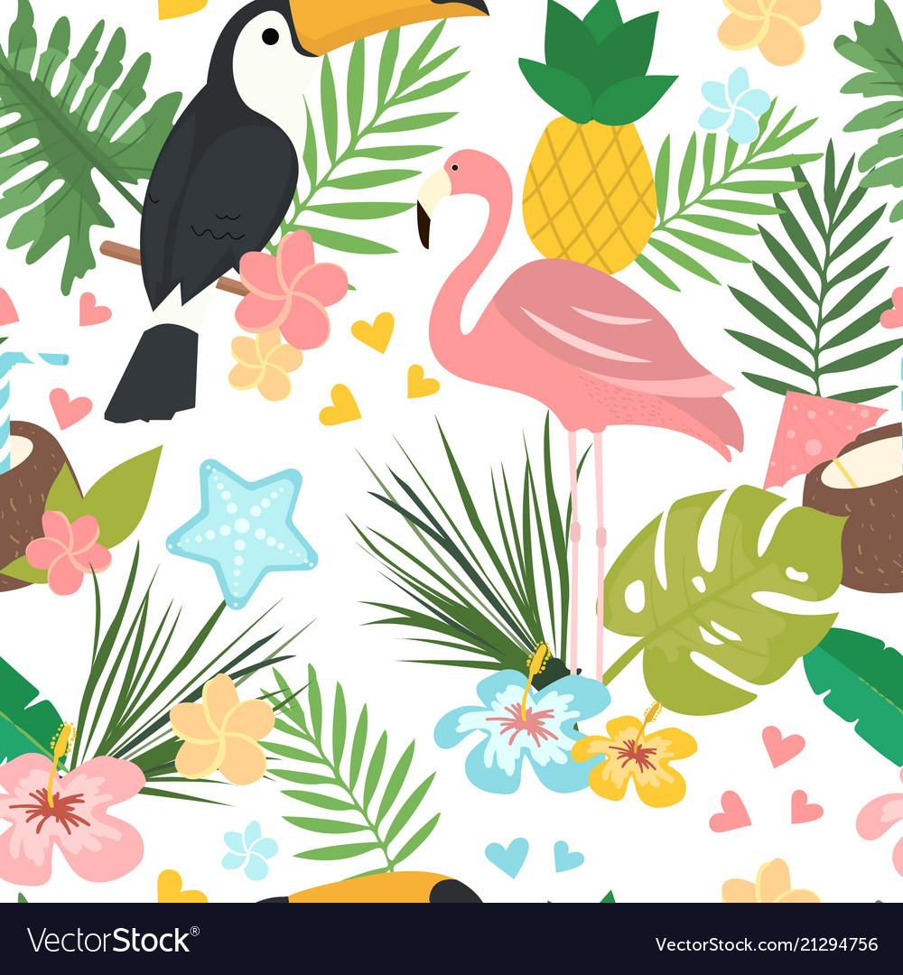 Seamless cartoon doodle pattern exotic