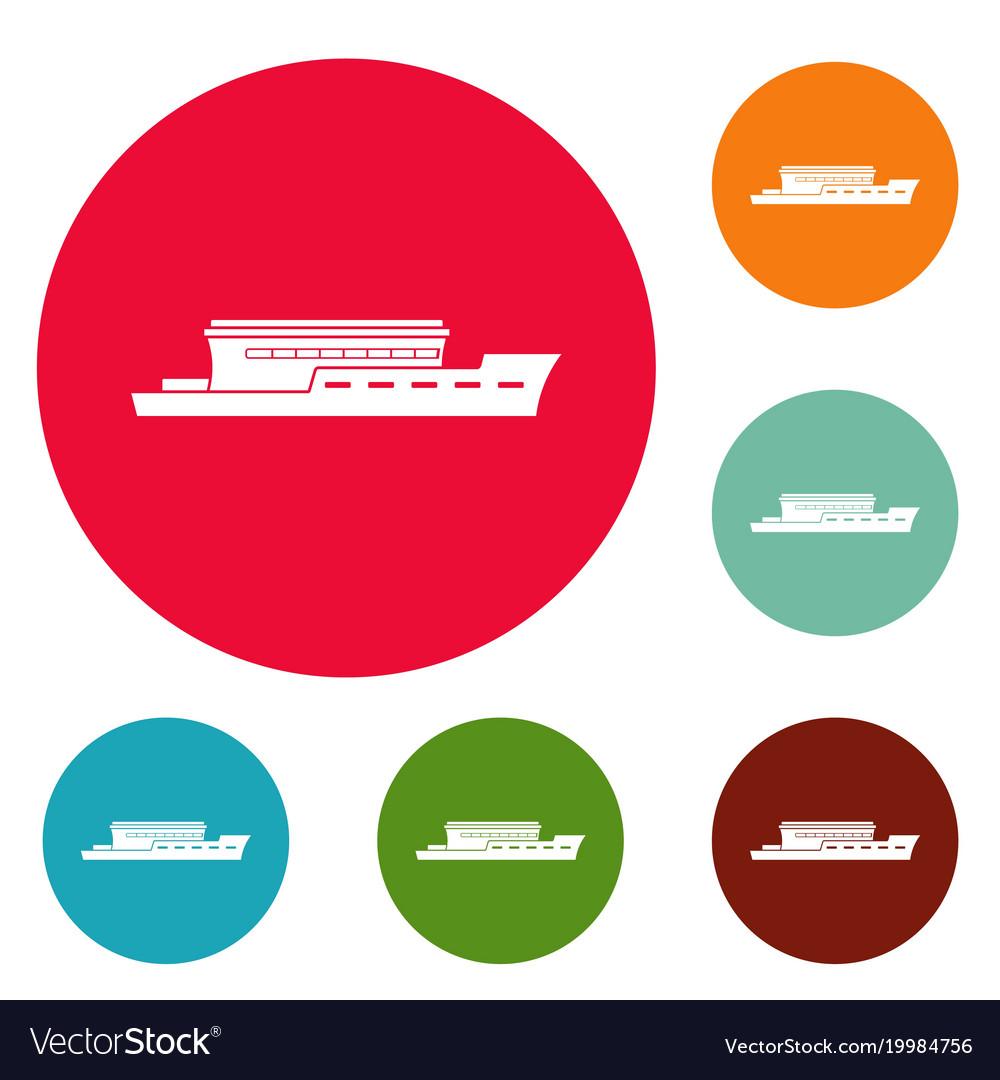 Ship river icons circle set