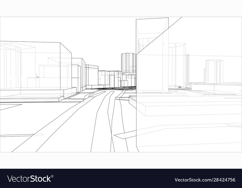 Sketch 3d city with buildings and roads