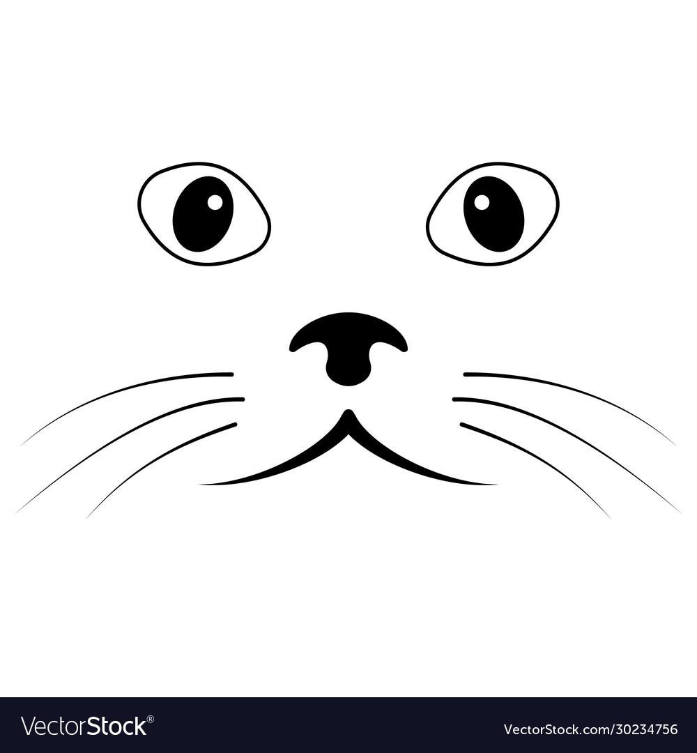Sketch cat face simple cat face mustache