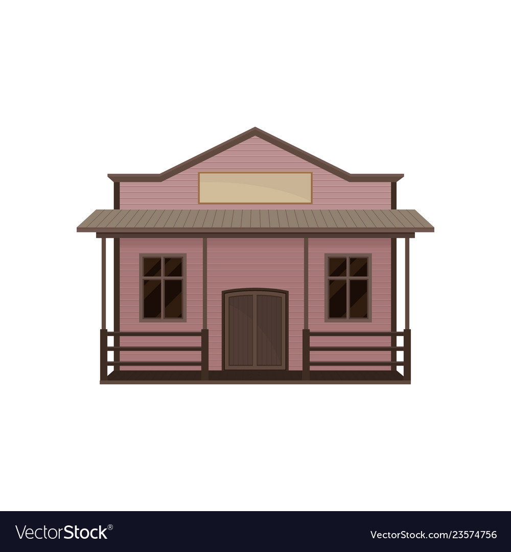House With Porch And Blank Signboard