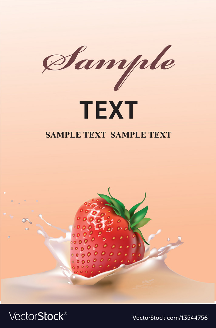 Strawberries and milk realistic vector image