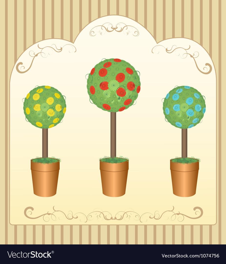 Three round floral tree