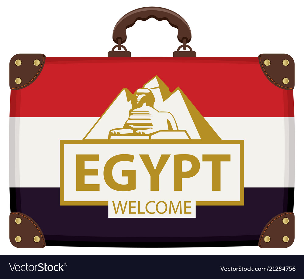 Travel suitcase with egyptian flag and the sphinx