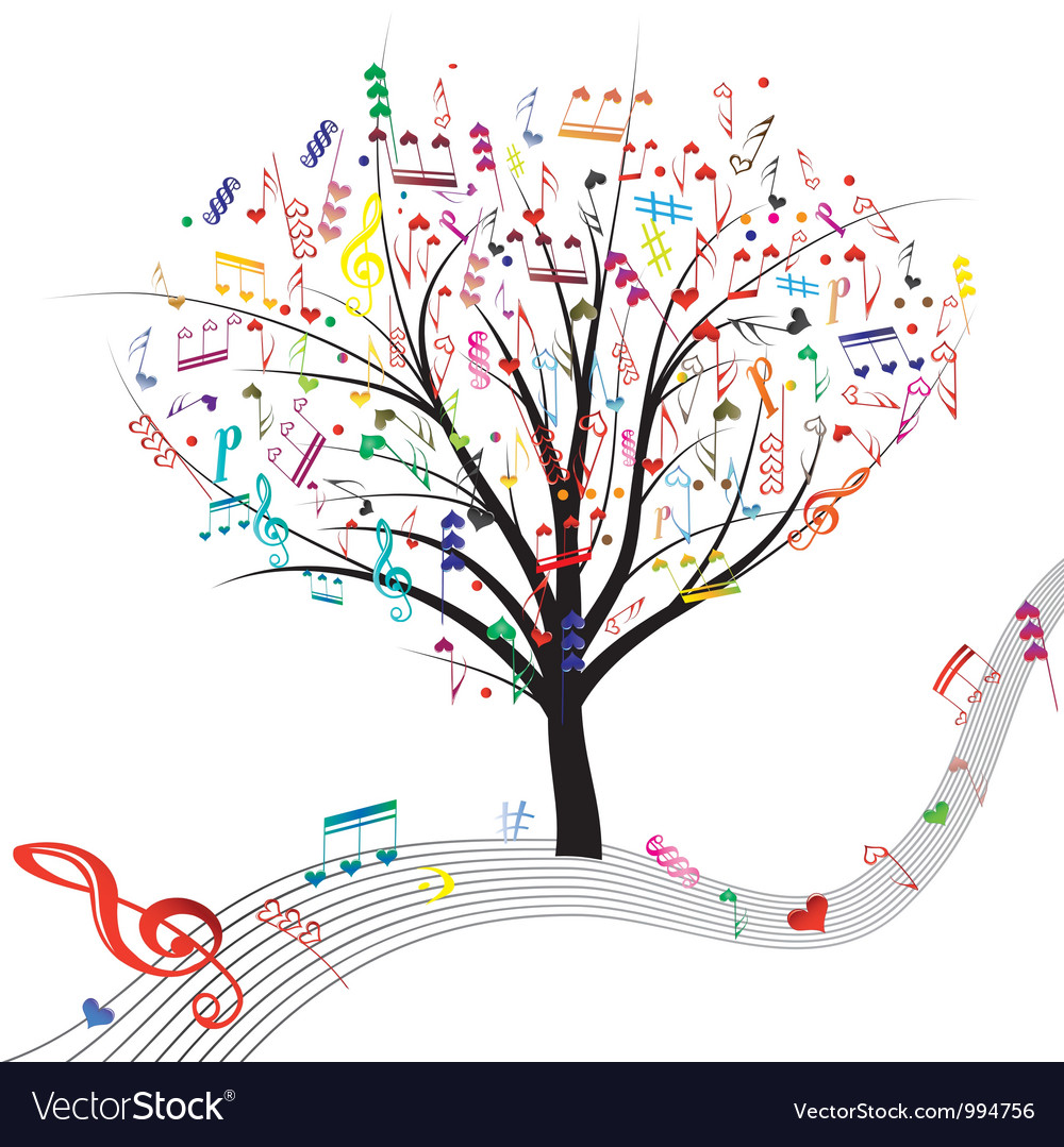 Tree music color vector image