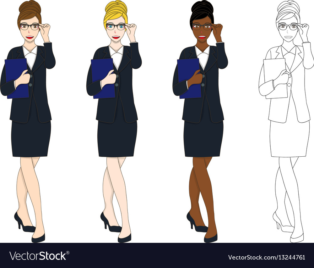 Business woman glasses with document
