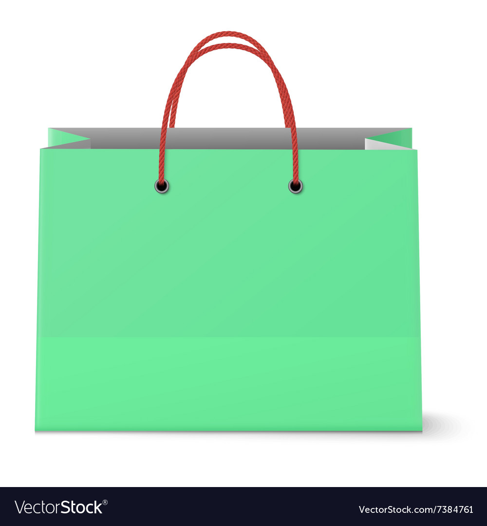 Classic paper shopping green bag with red grips vector image