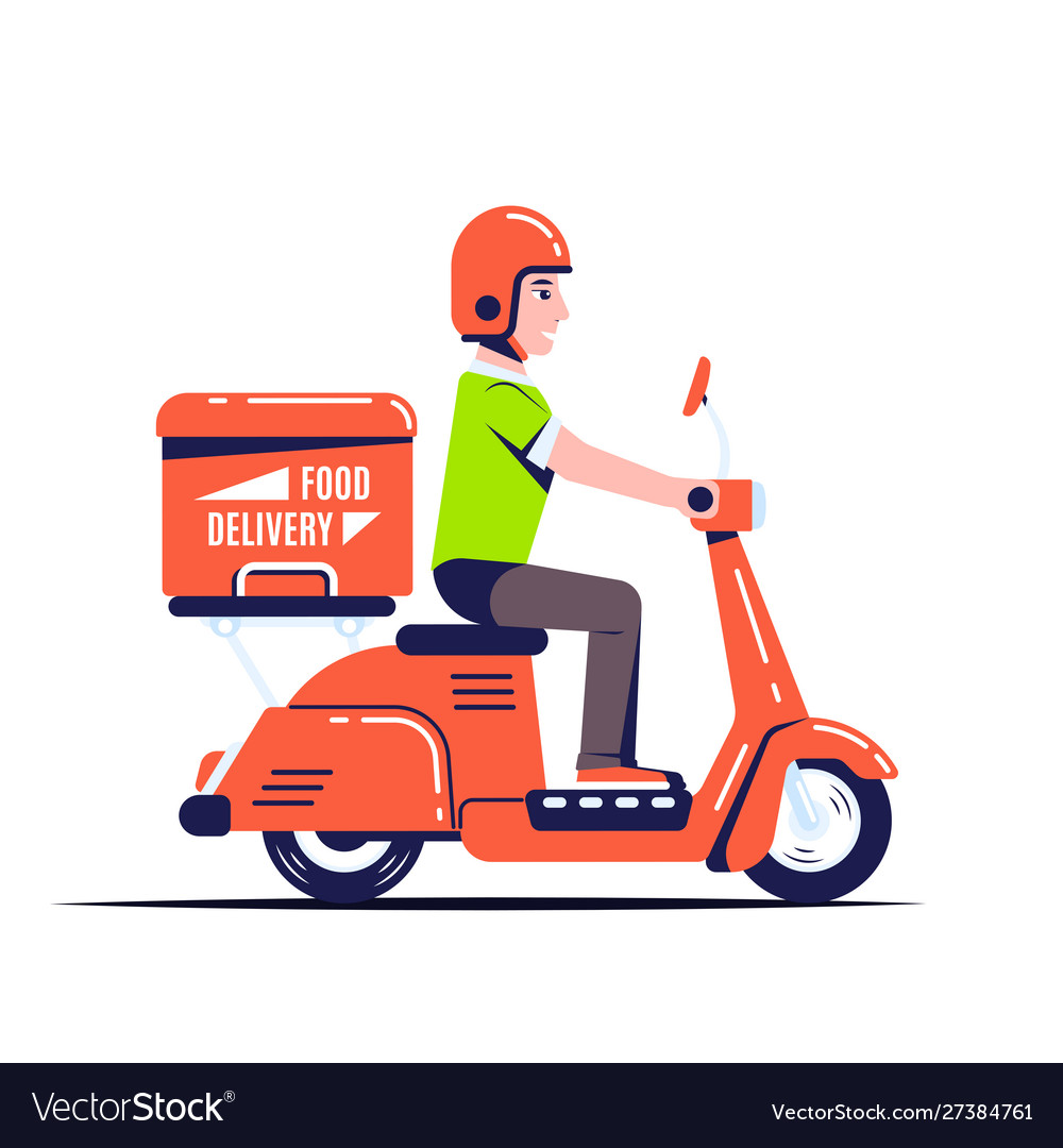 Delivery guy on scooter flat style