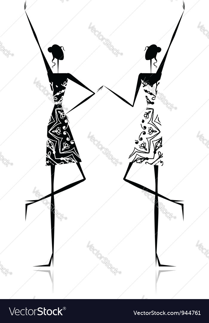 Fashion girls silhouette for your design