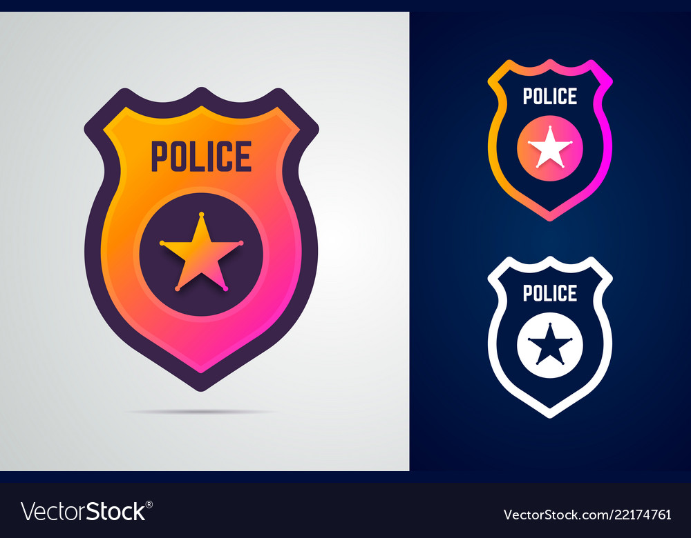 Police badge with star in modern gradient style