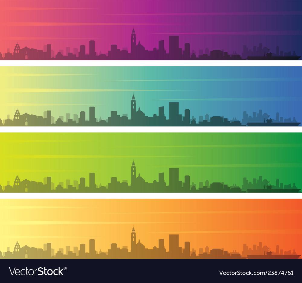 San Diego Multiple Color Gradient Skyline Banner Vector Image