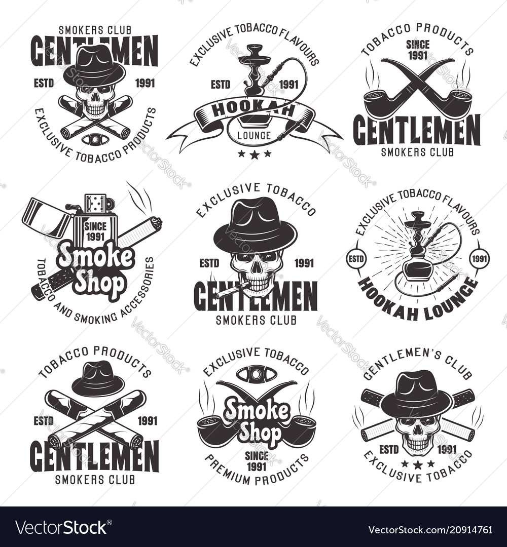 Smoking club and tobacco products emblems