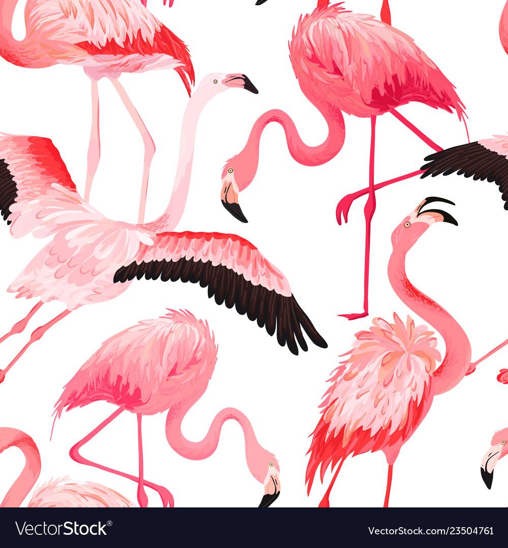 Tropical flamingo seamless summer pattern