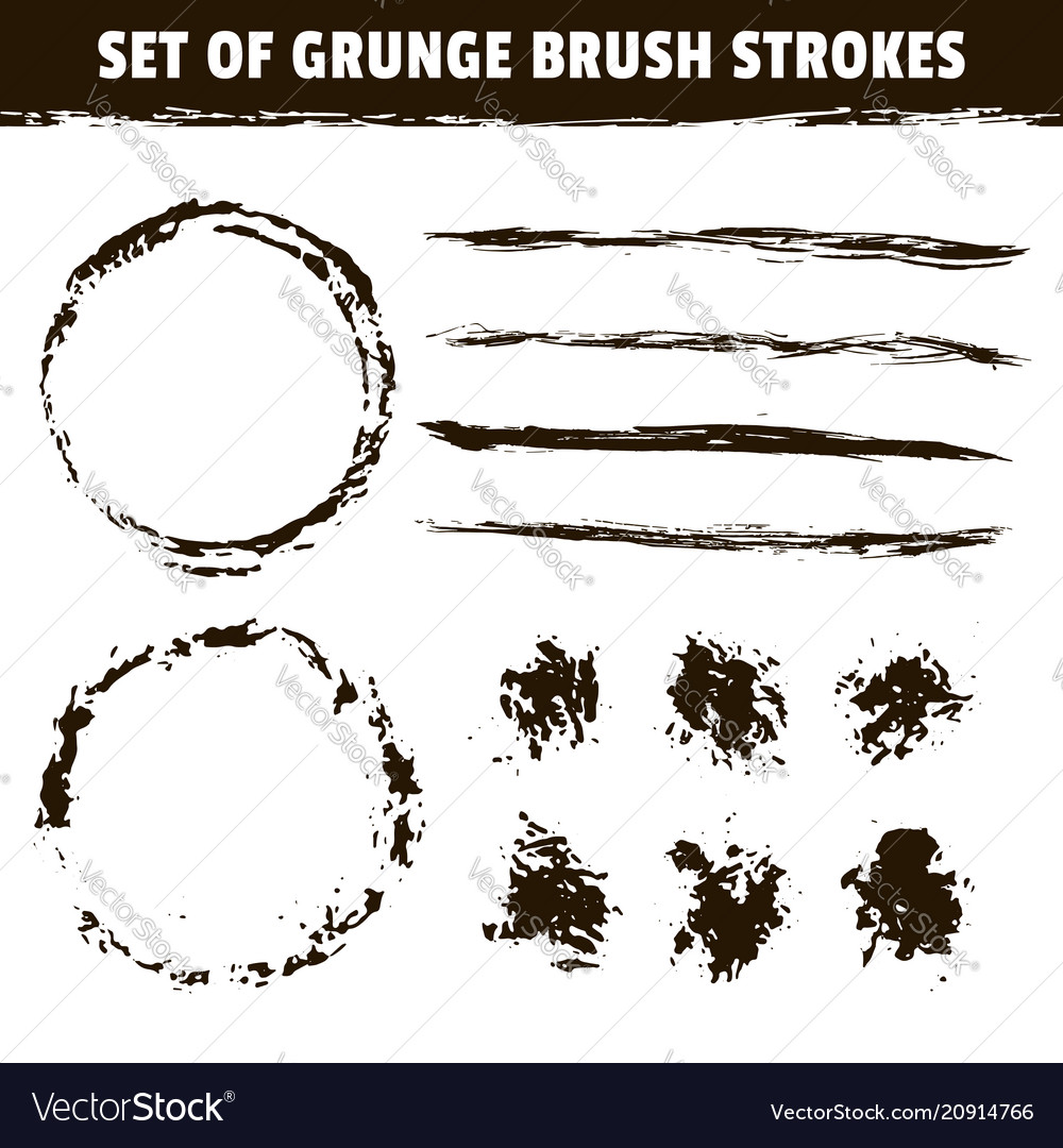 Artistic brushes and round black ink strokes