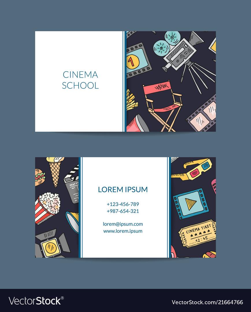 Cinema doodle icons business card cinema