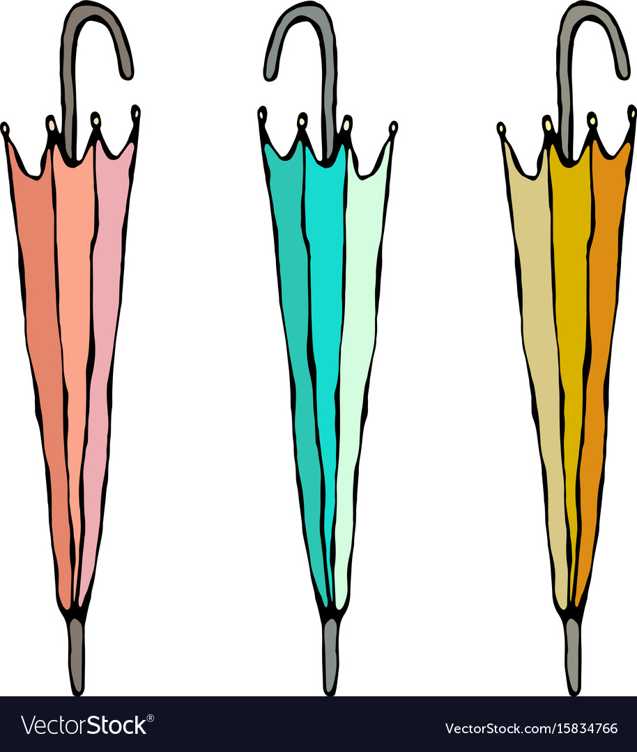Different colored closed umbrella isolated on a vector image
