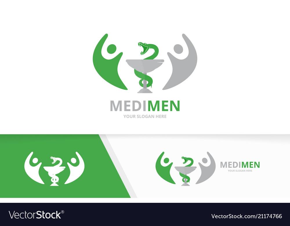 Medicine and people logo combination