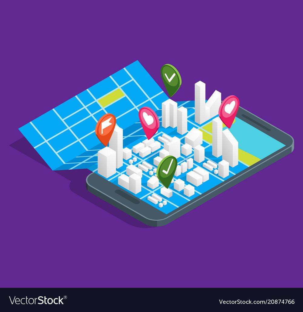 Mobile gps city navigation maps concept 3d