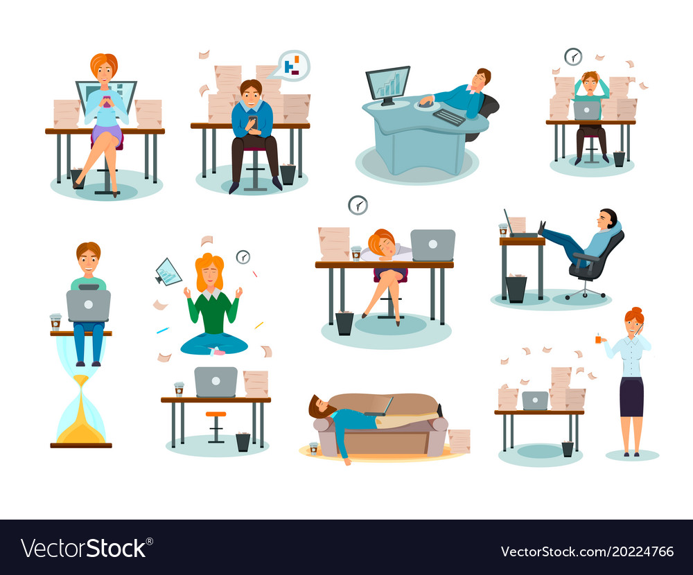 Procrastination characters cartoon icons set vector image