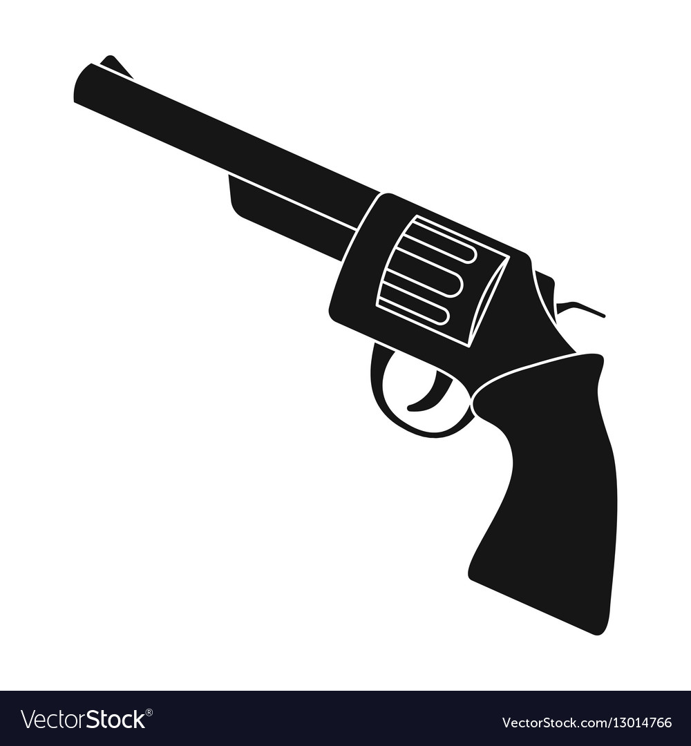 Revolver icon in monochrome style isolated on